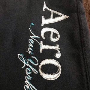 Aeropostale Black sweatpants XS w/bling